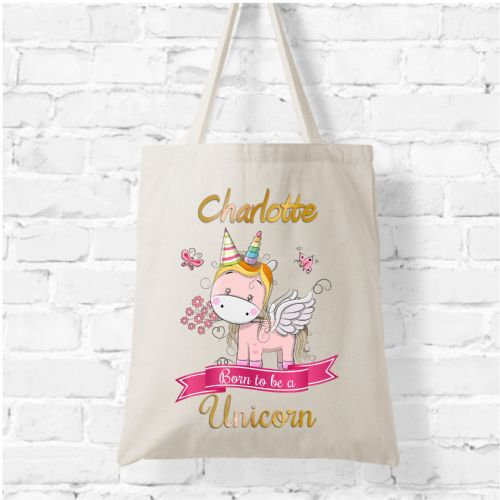 Personalised Natural Soft Tote Bag N1 - Anyname Born to be a Unicorn